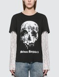 MM6 Maison Margiela Lace Sleeve Skull Print T-shirt 사진