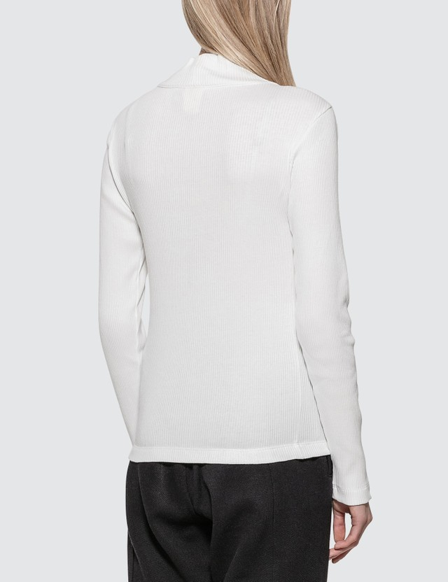 Champion Reverse Weave Ribbed Turtle Neck Long Sleeve Top White Women