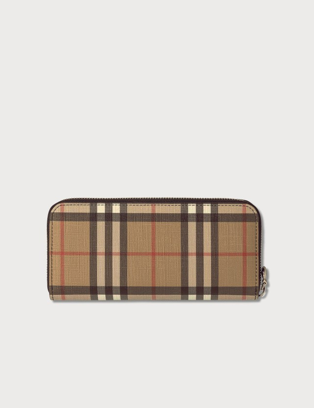 Burberry Vintage Check and Leather Zip Around Wallet