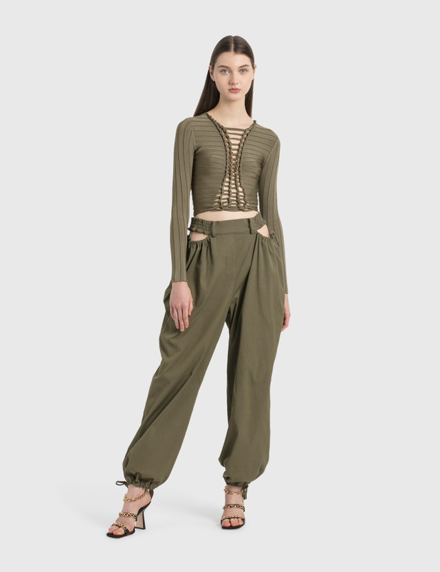Dion Lee Gathered Tie Pants Slate Green Women