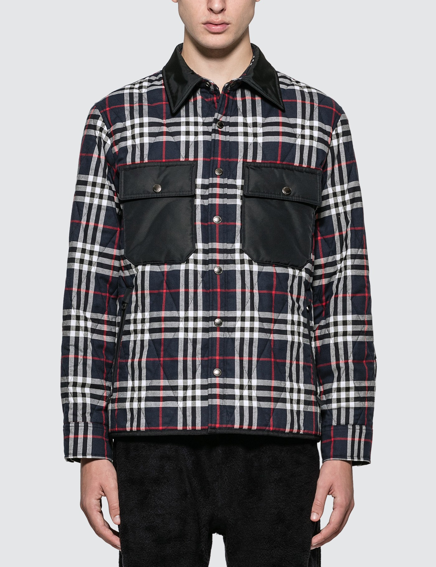 Quilted Check Cotton Flannel Overshirt