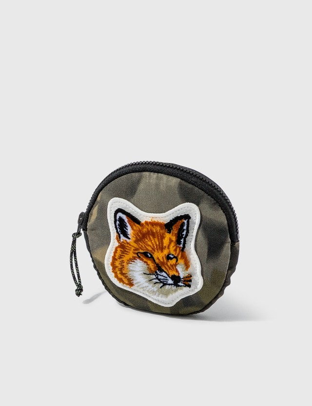 Maison Kitsune Velvet Fox Head Patch Coin Purse Khaki Print Women