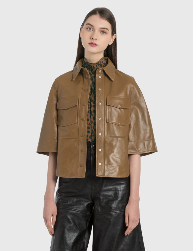 Ganni Lamb Leather Shirt