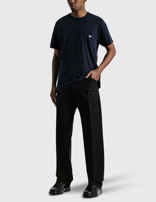 Maison Kitsune Tricolor Fox Patch Pocket T-shirt Navy Men