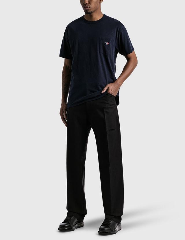 Maison Kitsune Tricolor Fox Patch Pocket 티셔츠 Navy Men