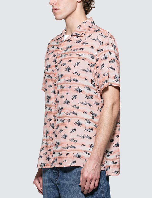 Lanvin Bowling S/S Shirt with Open Collar Light Pink Men