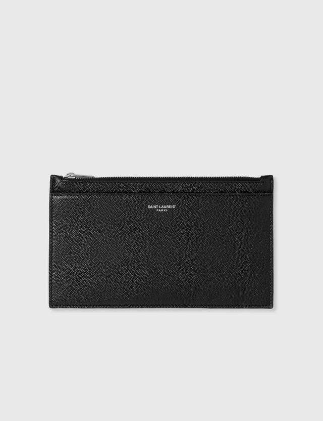 Saint Laurent Grain Leather Pouch Nero Men