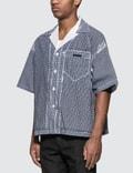 Prada Stencil Check Poplin Bowling Shirt Blue/white Men