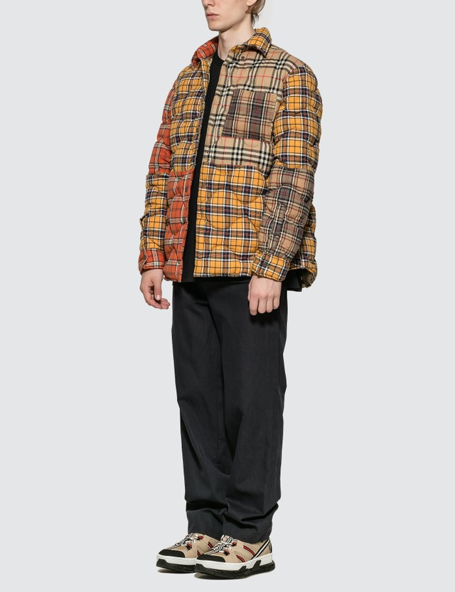 Burberry Contrast Check Cotton Flannel Puffer Overshirt