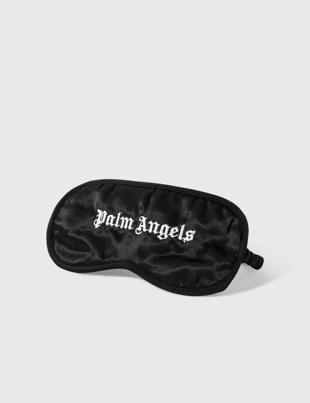 Palm Angels Silk Sleep Eye Mask Black Whit Unisex