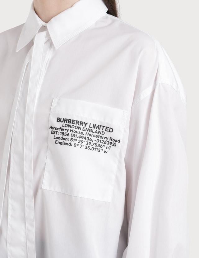 Burberry Location Print Cotton Poplin Oversized Shirt
