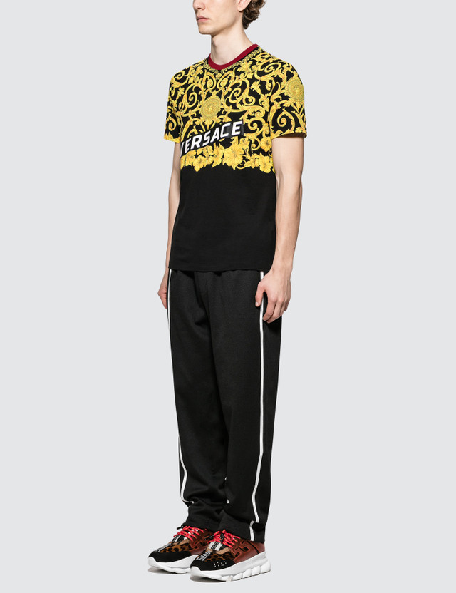 Versace Feather Print S/S T-Shirt Black Men