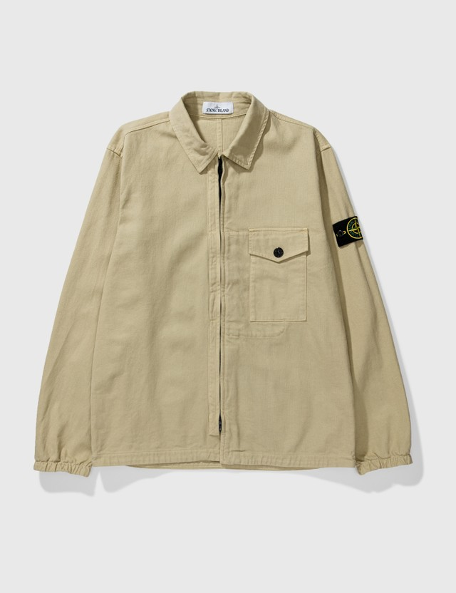 Stone Island Garment Dyed Overshirt Natural Beige Men