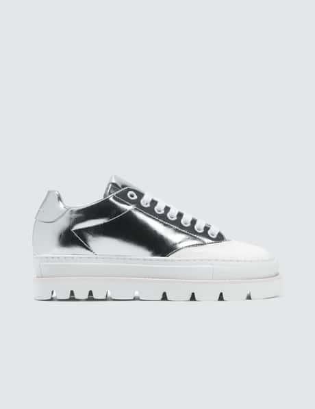 MM6 메종 마르지엘라 플랫폼 스니커즈 - 실버 화이트 MM6 Maison Margiela Silver & White Platform Sneakers