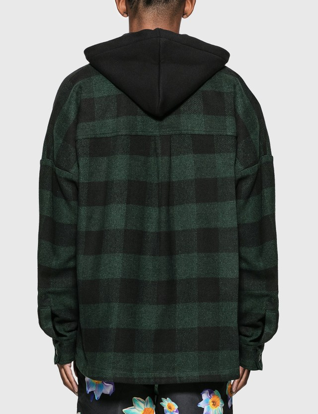 Palm Angels Hooded Logo Overshirt Forest Green White Men