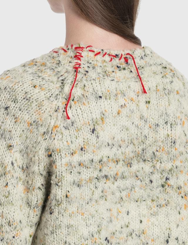 Maison Margiela Knit Cardigan Ecru/green + Red Women