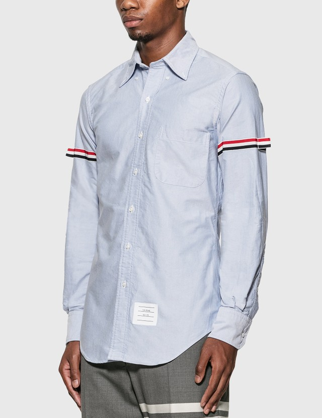 Thom Browne Grosgrain Arm Band Oxford Shirt Light Blue Men