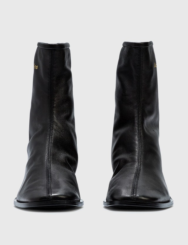 Acne Studios Branded Leather Boots Black/black Women
