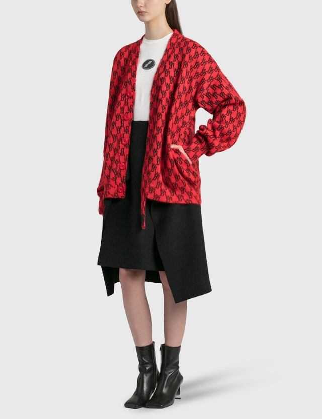 We11done Red Logo Printed Mohair Cardigan Red Women