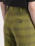 Acne Studios Checked Linen-Blend Trousers