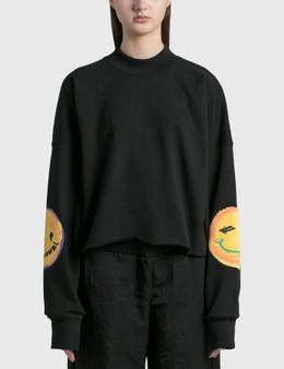 We11done Smiley Raw Edge Sweatshirt