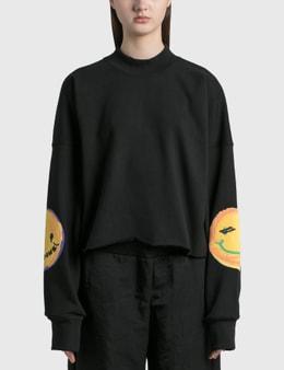 We11done Smiley Raw Edge Sweatshirt