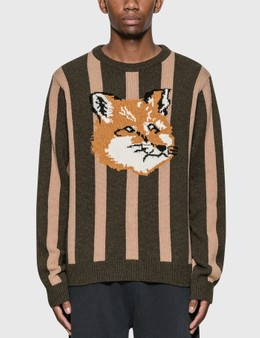 Maison Kitsune Jacquard Fox Head Stripe Pullover