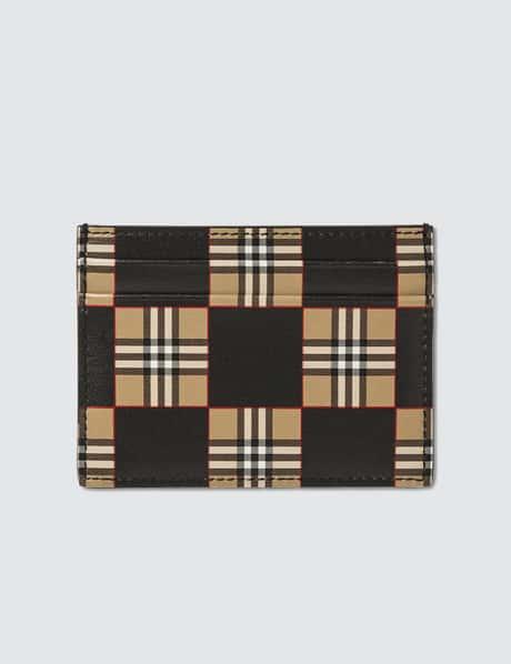 버버리 Burberry Chequer Print Leather Card Case