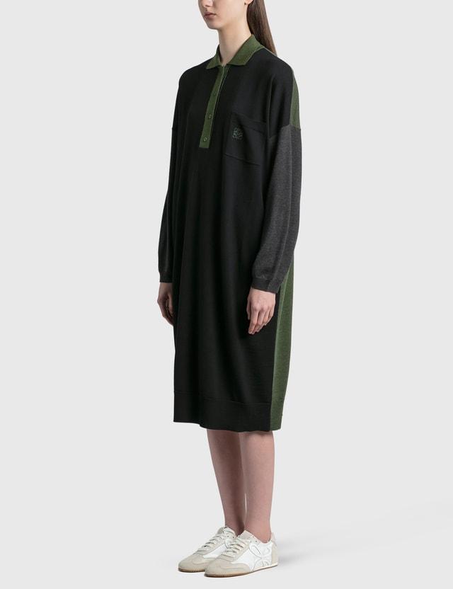 Loewe Anagram Embroidered Oversized Polo Collar Dress Black/khaki Green Women