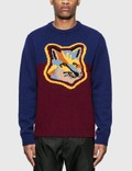 Maison Kitsune Colorblock Fox Head Pullover Picutre