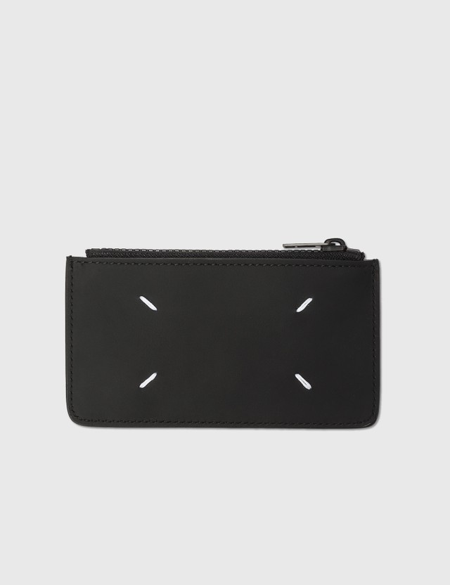 Maison Margiela Logo Tab Smooth Leather Wallet Black Unisex