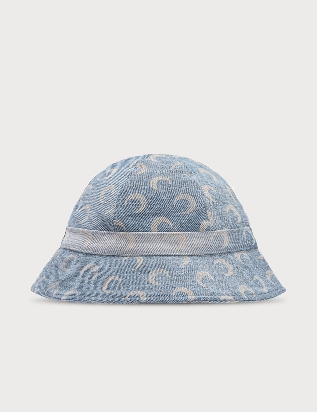 Marine Serre Allover Moon Denim Bucket Hat