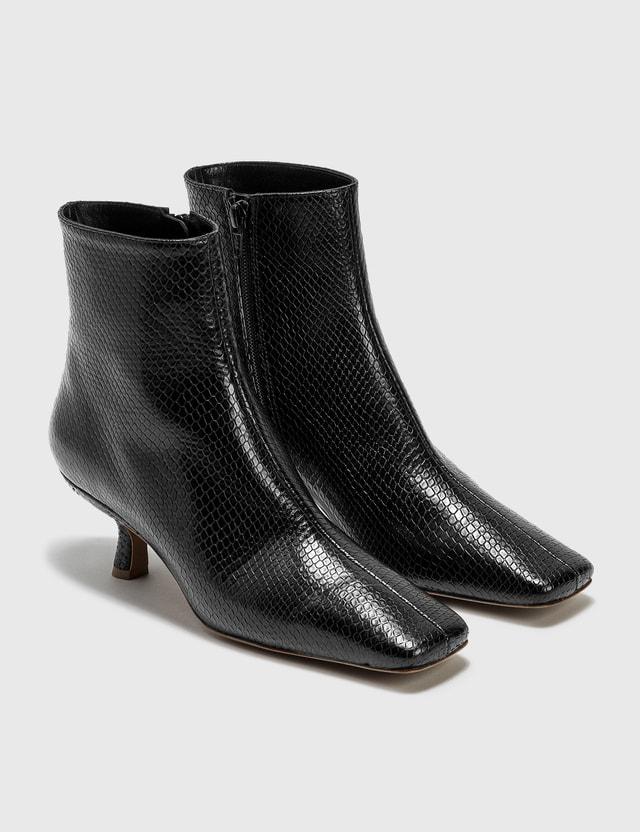 BY FAR Lange Black Snake Print Leather Boots Black Women