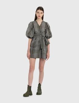 Ganni Seersucker Check Wrap Dress