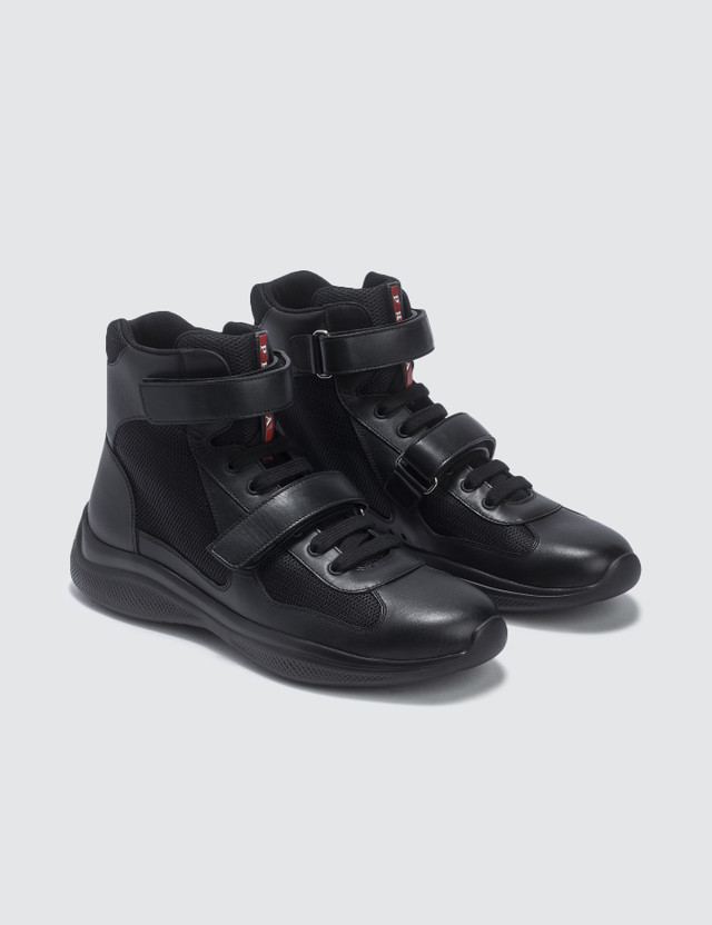 Prada High Top Velcro Strap Sneaker