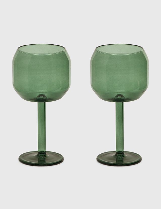 R+D Lab Velasca Calice Glasses (Set of Two) Slate Green Unisex