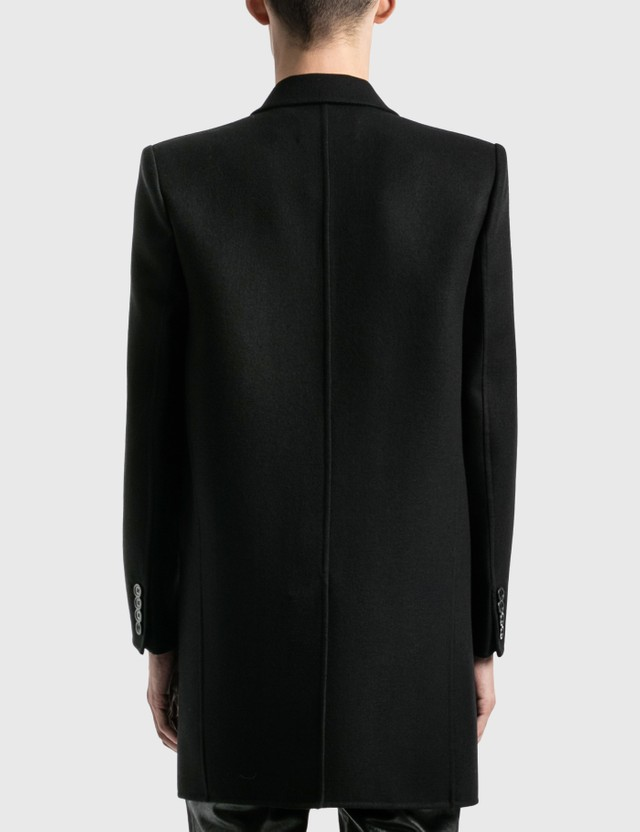 Saint Laurent Manteau Double Face Coat Noir Men