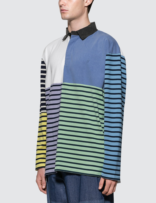 JW Anderson Patchwork Rugby Jersey L/S Polo Shirt