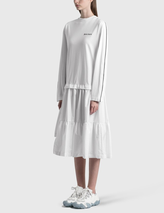 Palm Angels Logo Track T-Dress White Women