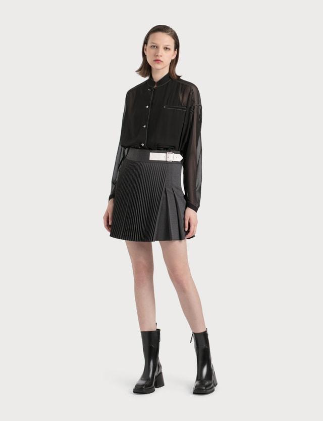 Helmut Lang Pleated Wrap Mini Skirt Q91 - Grey Melange Women
