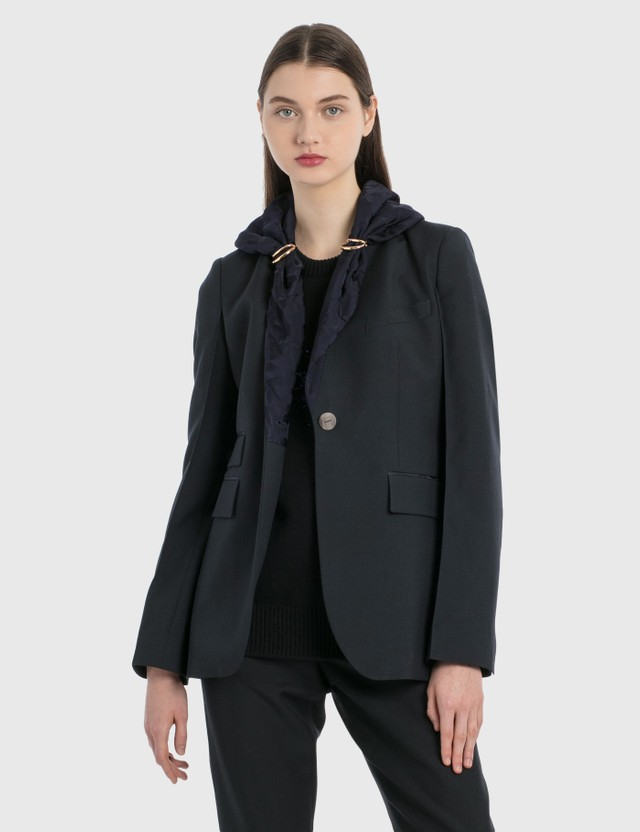 Loewe Jacquard Shawl Jacket Navy Blue Women
