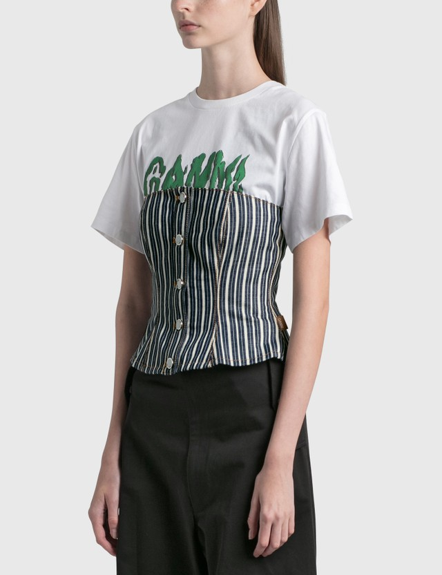 Ganni Mixed Stripe Denim Top Dark Indigo Women