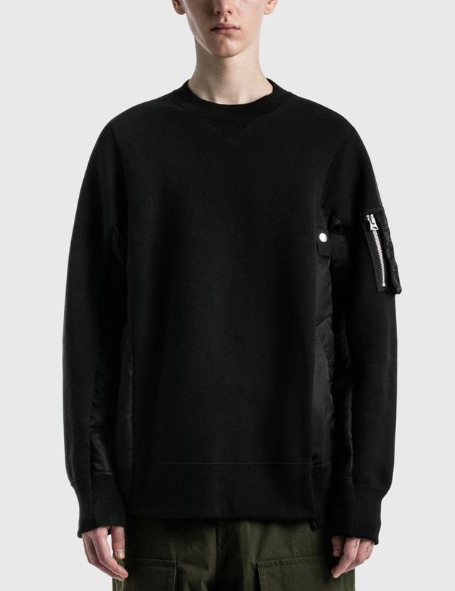 Sacai Sponge Sweat MA-1 Pullover Black X Black Men