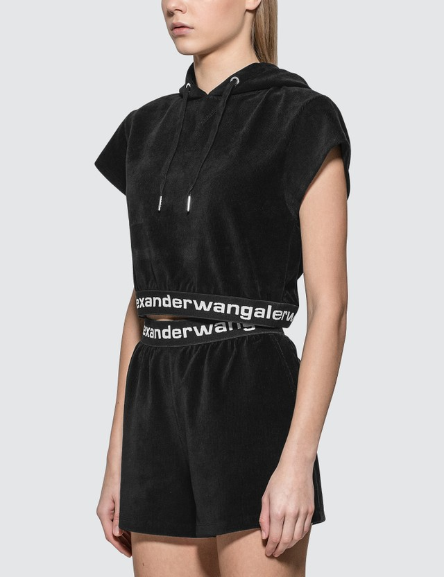 Alexander Wang.T Stretch Corduroy Hoodie With Logo Elastic
