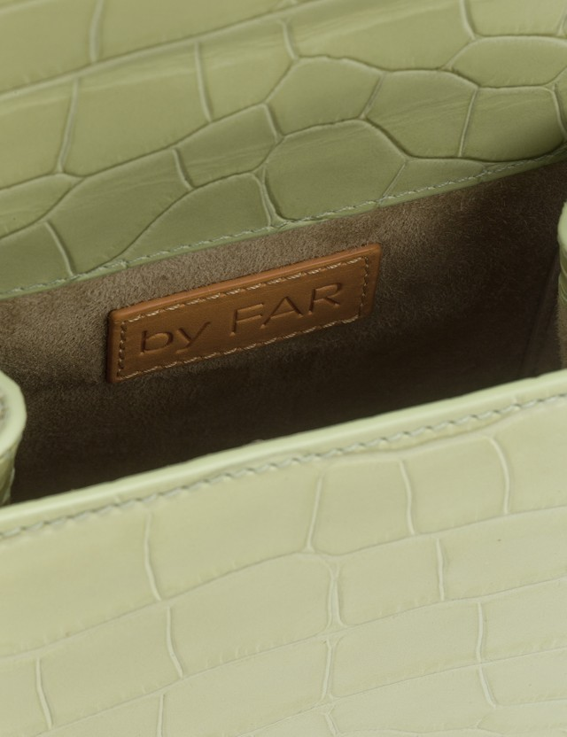BY FAR Ball Sage Green Croco Embossed Leather Bag