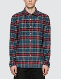 uniform experiment Flannel Check Beads Code Regular Collar Shirt Picture