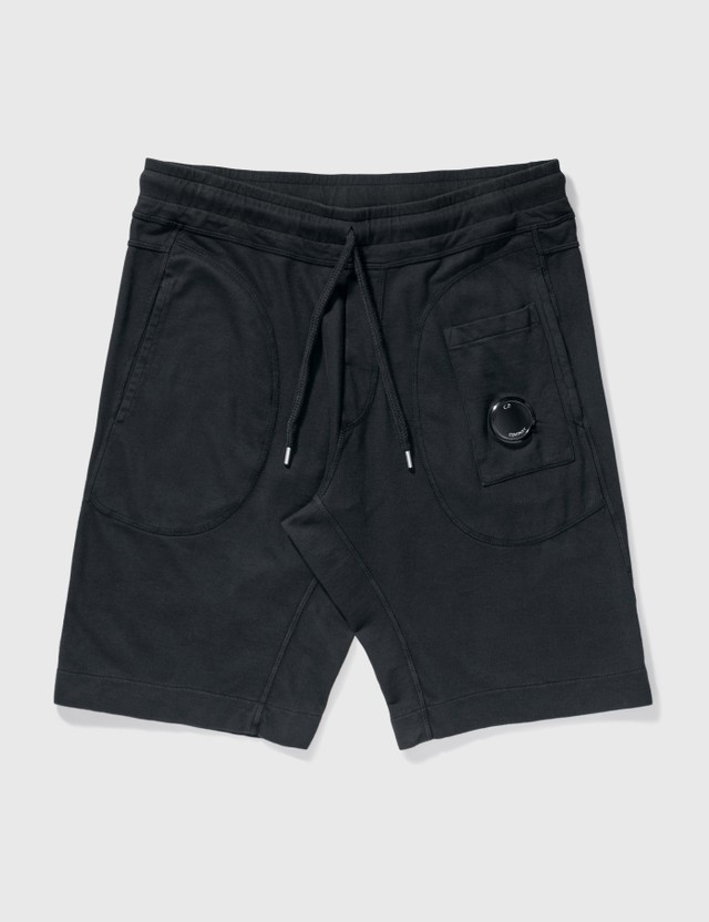 CP Company Light Fleece Garment Dyed Shorts Black Men