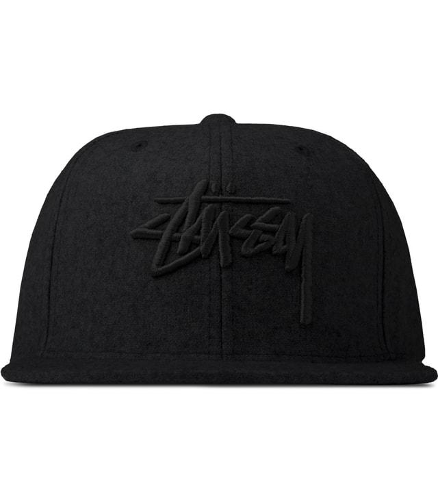 e3b041a9e0f Stussy - Black Stock Melton HO14 Snapback Cap