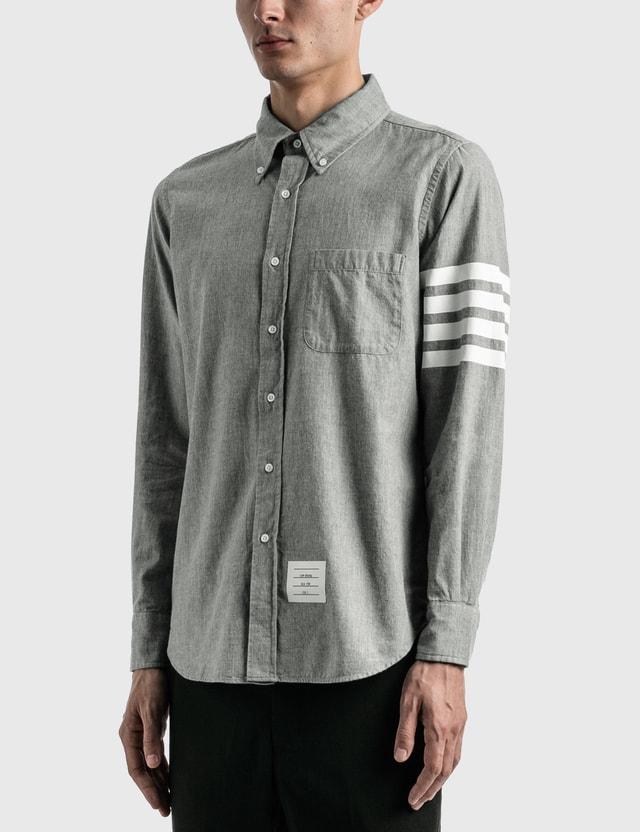 Thom Browne 4-Bar Chambray Shirt Med Grey Men