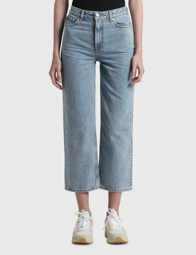 Ganni Classic Denim High-Waisted Cropped Jeans Washed Indigo Women
